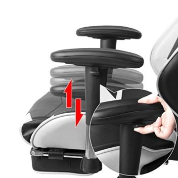 WOLTU Gaming Stuhl Racing Stuhl Bürostuhl Chefsessel Schreibtischstuhl Sportsitz mit Kopfstütze und Lendenkissen, Armlehne verstellbar, mit Fußstütze, Kunstleder, höhenverstellbar, Weiß, BS14ws - 6