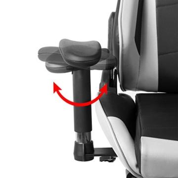 WOLTU Gaming Stuhl Racing Stuhl Bürostuhl Chefsessel Schreibtischstuhl Sportsitz mit Kopfstütze und Lendenkissen, Armlehne verstellbar, mit Fußstütze, Kunstleder, höhenverstellbar, Weiß, BS14ws - 7