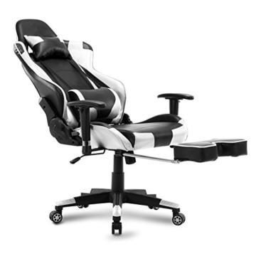 WOLTU Gaming Stuhl Racing Stuhl Bürostuhl Chefsessel Schreibtischstuhl Sportsitz mit Kopfstütze und Lendenkissen, Armlehne verstellbar, mit Fußstütze, Kunstleder, höhenverstellbar, Weiß, BS14ws - 8