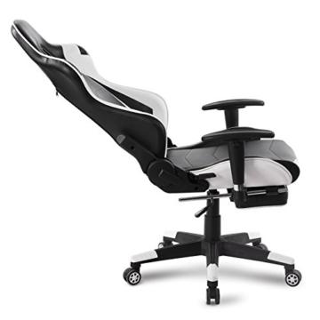 WOLTU Gaming Stuhl Racing Stuhl Bürostuhl Chefsessel Schreibtischstuhl Sportsitz mit Kopfstütze und Lendenkissen, Armlehne verstellbar, mit Fußstütze, Kunstleder, höhenverstellbar, Weiß, BS14ws - 9