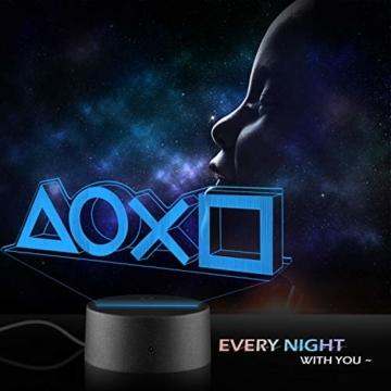 Xpassion Playstation Lampe mit Farbwechsel Funktion 16 Farben LED-Tisch-Schreibtisch-Lampen USB-Lade, die Schlafzimmer-Dekoration für Kinder Weihnachten Halloween-Geburtstagsgeschenk beleuchten - 3