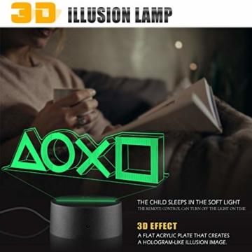 Xpassion Playstation Lampe mit Farbwechsel Funktion 16 Farben LED-Tisch-Schreibtisch-Lampen USB-Lade, die Schlafzimmer-Dekoration für Kinder Weihnachten Halloween-Geburtstagsgeschenk beleuchten - 5