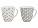XXL Kaffeetasse 650 ml - 2er Set - Kaffeebecher mit Stern Design - Jumbo Tasse Porzellan Becher Weihnachtstasse Sterne - 1