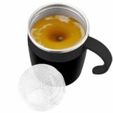 Yeswell Selbstrührende Kaffeetasse, Auslaufsichere Reisebecher, 320 ml Isolierte Kaffeetasse, Automatische Mischtrinkbecher aus Edelstahl für Kaffee, Milch, Tee (Schwarz) - 1