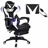 YU YUSING Massage Racing Gaming Stuhl Bürostuhl - Ergonomisches Sportsitz höhenverstellbarer Computerstuhl Chefsessel Schreibtischstuhl mit Kopfstützen, verstellbaren Armlehnen und Fußstützen (weiß) - 1