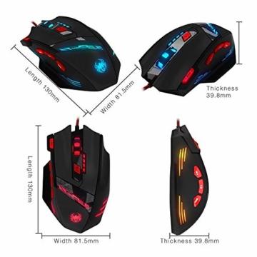 zelotes T90 Gaming Maus 9200 DPI, 8 Tasten, Multi-Modi LED, USB Gaming Maus, Gewichtstuning für Pro Gamer - 3