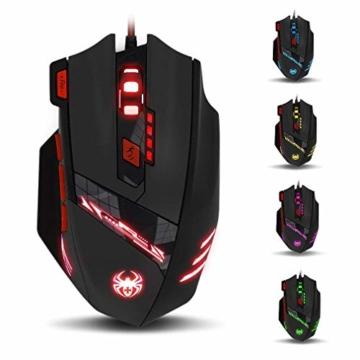 zelotes T90 Gaming Maus 9200 DPI, 8 Tasten, Multi-Modi LED, USB Gaming Maus, Gewichtstuning für Pro Gamer - 1