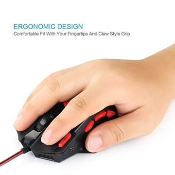 zelotes T90 Gaming Maus 9200 DPI, 8 Tasten, Multi-Modi LED, USB Gaming Maus, Gewichtstuning für Pro Gamer - 7