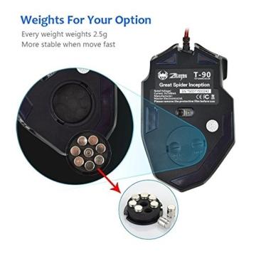 zelotes T90 Gaming Maus 9200 DPI, 8 Tasten, Multi-Modi LED, USB Gaming Maus, Gewichtstuning für Pro Gamer - 8