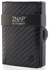 ZNAP Kreditkartenetui mit Geldklammer Aluminium und Münzfach - RFID Schutz - Slim Wallet Carbon - Kartenetui, Kreditkarten Etuis, Geldbörse - bis 12 Karten - Geld Clip von SLIMPURO - 1