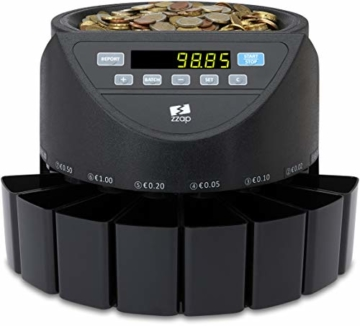 ZZap CS20 - Automatischer EURO Münzzähler & -sortierer - Geldzählmaschine Münzzählautomat Geldzähler - 9