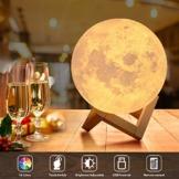 18cm LED Mond Lampe mit Fernbedienung,OxyLED Farbige Dekoleuchte 3D Mond Kunst LED RGB Mondlicht tragbares Nachtlicht mit Dimmbar,16 Lichtfarben wechsel,Weihnachtsgeschenk, Geburtstagsgeschenk - 1