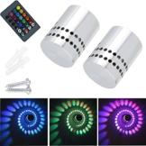 2 Stück Lamker 3W LED Wandleuchte Wandlampe Dimmbar Innen RGB Wandlicht Deckenleuchte Effektlicht Flurlampe Spirale Effekt mit Fernbedienung für Flur Schlafzimmer Balkon Wohnzimmer - 1