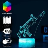 3D Festungslampe Battle Bus RGB Stimmungslampe 7 Farben Sockel Acryl Stereo Illusion LED Tischleuchte Nachttischlampe Crack Character Scar - 1