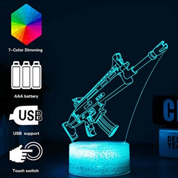 3D Festungslampe Battle Bus RGB Stimmungslampe 7 Farben Sockel Acryl Stereo Illusion LED Tischleuchte Nachttischlampe Crack Character Scar - 1