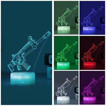 3D Festungslampe Battle Bus RGB Stimmungslampe 7 Farben Sockel Acryl Stereo Illusion LED Tischleuchte Nachttischlampe Crack Character Scar - 7