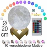 3D Mond Lampe 20cm mit Fernbedienung, Motiv 3D Mond, erhältlich in Ø 15 oder 20cm, 16 Farben. 10 verschiedene Motive, dimmbar, viele Funktionen, deutsche Bedienungsanleitung. Mondlampe Mondleuchte, - 1