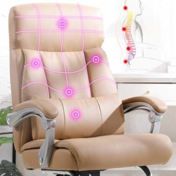 Afanyu Afanyu Leather Boss Chair, Stuhl mit Chromgestell, Bionic Ergonomics, 150 \ u0026Deg; Zurücklehnen, Fünf-Punkt-Unterstützung/Beruhigender Gegendruck, Hohe Belastbarkeit (Braun) - 5