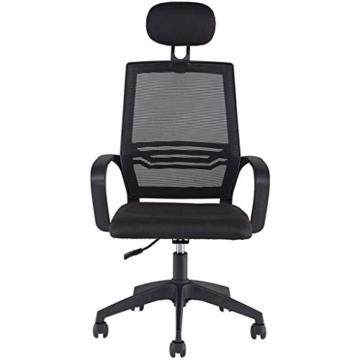 Afanyu Afanyu Personal Stuhl mit Kopfstütze, Mesh Home Office Stuhl, Bionic Ergonomics, 10Cm Hubverstellung und Rückenstütze, gebogene Armlehne (Schwarz) - 2