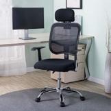 Afanyu Afanyu Personal Stuhl mit Kopfstütze, Mesh Home Office Stuhl, Bionic Ergonomics, 10Cm Hubverstellung und Rückenstütze, gebogene Armlehne (Schwarz) - 1