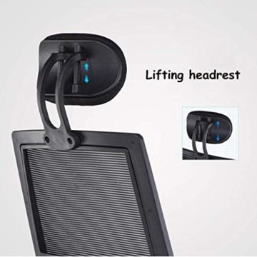 Afanyu Afanyu Personal Stuhl mit Kopfstütze, Mesh Home Office Stuhl, Bionic Ergonomics, 10Cm Hubverstellung und Rückenstütze, gebogene Armlehne (Schwarz) - 4