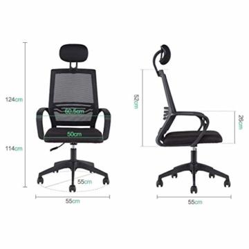 Afanyu Afanyu Personal Stuhl mit Kopfstütze, Mesh Home Office Stuhl, Bionic Ergonomics, 10Cm Hubverstellung und Rückenstütze, gebogene Armlehne (Schwarz) - 5