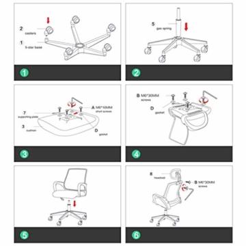 Afanyu Afanyu Personal Stuhl mit Kopfstütze, Mesh Home Office Stuhl, Bionic Ergonomics, 10Cm Hubverstellung und Rückenstütze, gebogene Armlehne (Schwarz) - 6