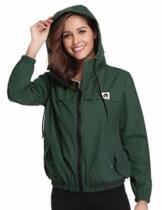 Aibrou Damen Leichte Regenjacke wasserdicht Kurze Windjacke mit Kapuze für den Außenbereich - 1