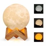 Albrillo LED Mond Lampe - 10cm 3D Mondlicht mit Touch Sensor, 3 Farbe Auswählbar und dimmbar Nachtlicht, USB Wiederaufladbar als Deko und Geschenke, 12.5um Oberflächengenauigkeit - 1