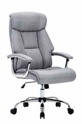 Amoiu Bürostuhl, ergonomischer Schreibtischstuhl Chefsessel mit gepolsterten Armlehnen und Kopfunterstützung,Höheverstellbar 360°Bürodrehstuhl Stoff Drehstuhl (Grau Stoff) - 1