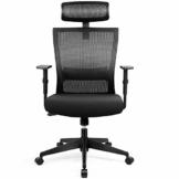 amzdeal Bürostuhl Ergonomischer Chefsessel Computerstuhl Schreibtischstuhl mit Einstellbarer Kopfstütze, Drehstuhl mit Armlehnen und Rückenlehnen - 1
