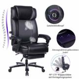 Breiter und hoher verstellbarer Leder Bürostuhl - Metallbasis Computer-Schreibtischstuhl mit hoher Rückenlehne und einstellbarer integrierter Lendennstütze, Winkelverriegelungssystem und Fußstütze - 1