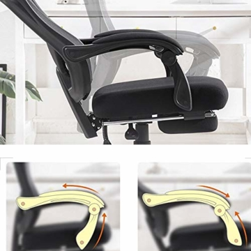 Bseack_Store Stuhl Computerstuhl, Bügelhalterung Verbundener Handlauf Bionic Ergonomics 150 ° Neigungsfunktion Heimbürostuhl Sitz 2 Farben (Farbe : Schwarz) - 2