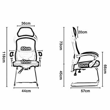 Bseack_Store Stuhl Computerstuhl, Bügelhalterung Verbundener Handlauf Bionic Ergonomics 150 ° Neigungsfunktion Heimbürostuhl Sitz 2 Farben (Farbe : Schwarz) - 3