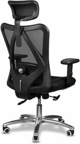 Bürostuhl Ergonomisch Bürostuhl, Schreibtischstuhl Computer Stuhl drehstuhl mit Netz-Design-Sitzkissen, Verstellbare Kopfstütze und Armlehnen, Wippfunktion, Sitzhöh, Maximale Belastbarkeit 150 kg - 1