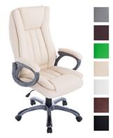 Bürostuhl XXL Bern Mit Kunstleder | Ergonomischer Bürosessel Mit Verstellbarer Sitzhöhe | Drehstuhl Mit Laufrollen, Farbe:Creme - 1