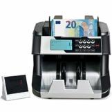 COSTWAY Geldzähler mit Echtheitprüfung, Banknotenzähler für Euro, Geldzählmaschine mit Update-Funktion, Geldscheinzähler mit LED-Display - 1