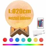 CPROSP LED Mond Lampe mit Netzteil 20cm 3D Mondlicht Touch Sensor, 16 Farbe RGB Fernbedienung Auswählbar und dimmbar Nachtlicht, USB Wiederaufladbar als Deko Geschenke, PLA PVC Material - 1