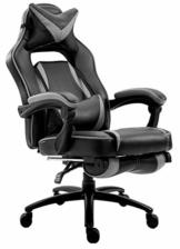 Delman XXL Gaming Stuhl Racing Stuhl Schreibtischstuhl Gaming Chair Drehstuhl Höhenverstellbar mit Fußstütze Fußablage mit Armlehnen Chefsessel Große Sitzfläche Dicke Polsterung 11 cm RS0019GY - 1