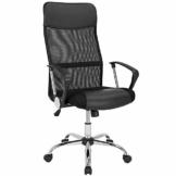 Deuba Bürostuhl Chefsessel ergonomisch höhenverstellbar 360° drehbar mit Wippfunktion Netz-Rücken atmungsaktiv Kunstleder Armlehnen Lendenwirbelstütze – Schwarz - 1