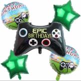 DIWULI, Gamer Luftballons 5 Teile Set, Happy Birthday, Gaming Folien-Ballons, Geburtstagsballons, Gamepad Folienluftballon, Gamer-Ballons Geburtstag, LAN-Party, Junge Kindergeburtstag, Dekoration - 1