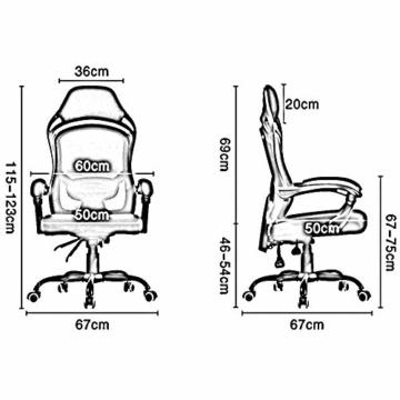 Drehstuhl Computerstuhl, Handlauf verbunden Bionic Ergonomics Bow Bracket 150 ° Liegefunktion Heimbürostuhl Sitz 2 Farben (Farbe : Weiß) - 3