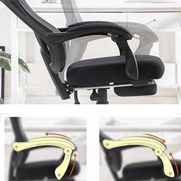 Drehstuhl Computerstuhl, Handlauf verbunden Bionic Ergonomics Bow Bracket 150 ° Liegefunktion Heimbürostuhl Sitz 2 Farben (Farbe : Weiß) - 4
