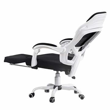 Drehstuhl Computerstuhl, Handlauf verbunden Bionic Ergonomics Bow Bracket 150 ° Liegefunktion Heimbürostuhl Sitz 2 Farben (Farbe : Weiß) - 1