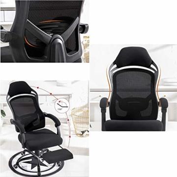 Drehstuhl Computerstuhl, Stahl-Fußkreuz mit Fünf-Sterne-Fuß, Bionic Ergonomics 150 ° Lehnfunktion Home Office-Stuhl Sitz 2 Farben (Farbe : Schwarz) - 3