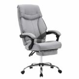 EUGAD 0007BGY Bürostuhl Chefsessel Schreibtischstuhl Drehstuhl Computerstuhl mit Fußstütze, Höhenverstellbar, Stoffbezug, Hellgrau - 1