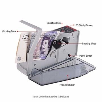 Fesjoy geldzählmaschine geldscheinprüfgerät geldprüfer geldzähler geldmaschine geldscheinzählmaschine geld zähler maschine falschgeld prüfgerät Tragbarer mini handlicher Geldzähler weltweit Bill Cash - 5