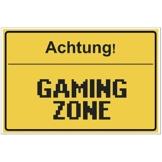 Fun-Schild Achtung! - Gaming Zone aus PVC Hartschaum Platte 300x200 mm - 3 mm stark - Lustig - Türschild - Regenbogen - 1