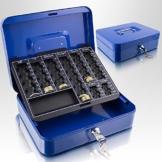 Geldkassette 25 cm groß abschließbar Münz Geld Zählbrett Kasse Safe Blau 250mm x 200mm x 70mm (B/T/H) - 1