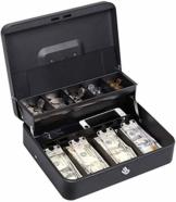 HAITRAL Doppelschicht Geldkassette Und 2 Schlüssel, Mit Bargeld und Münzfächern, Sichere Geldkassette, Schwarz - 1